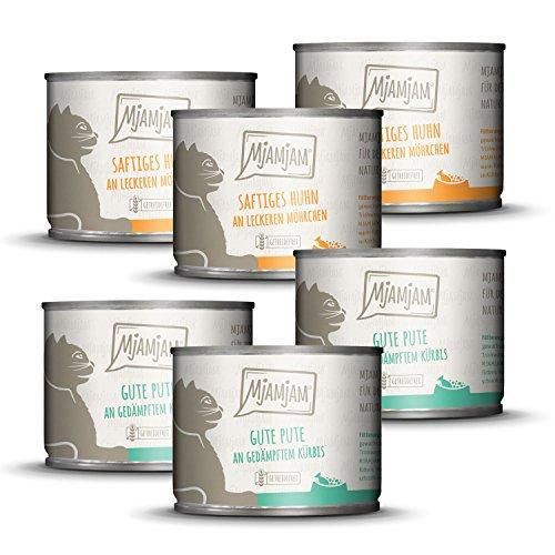 MjAMjAM Alimentation Humide Aliment Monoprotéique Pack I 3 x Dinde, 3 x Poulet sans Céréales pour Chat