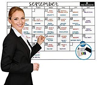 $29 Get Dry Erase Wall Calendar Laminated - JTSC Products Jumbo 24x36 inch Monthly Planner for Home, School and Office - Reusable Laminated Nano Premium PET Film - Bonus 6 Markers, Dry Eraser, Accessories
