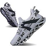 JSLEAP Mens Running Shoes Non Slip Athletic Walking Blade Type Sneakers, 1grey, 10