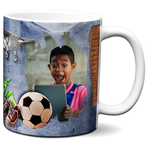 Spersonalizowany kubek z 2 zdjęciami - wykonany na zamówienie - spersonalizowany projekt - spersonalizowany kubek do kawy - motyw gadżetów dla chłopców - 325 ml ceramiczny kubek do herbaty