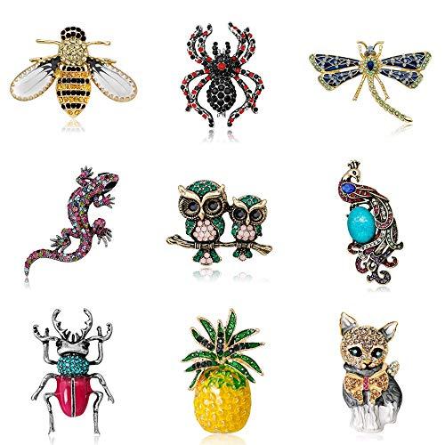 SHAOWU Broches de Lagarto de Cristal Moda Linda Animal Insecto Escarabajo Abeja Pareja Búho Araña Libélula Pavo Real Gato Piña Joyería Retro Gato