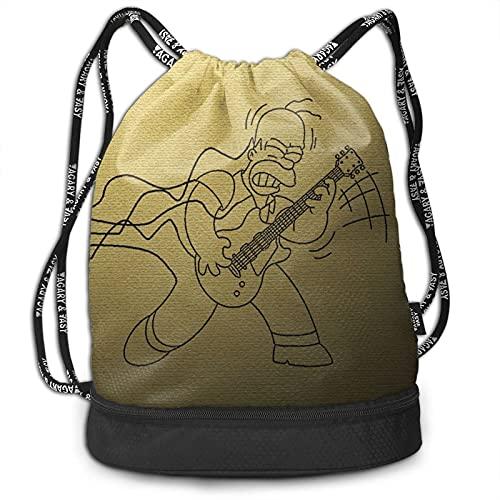 Simpson Homer Mochila con cordón de dibujos animados, portátil, ocio, deporte, gimnasio, viajes, bolsa de hombro, 15 x 16 pulgadas