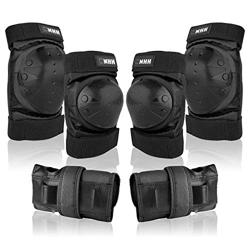 knee pads NHH Knee Pads Set - 6 in 1 Protective Gear Set Knee Pads Elbow Pads and Wrist Guards for Kids Youth Adults Men and Women