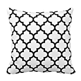 Black and White Quatrefoil Pattern Pillow Pillow Cover Cushion Case 18X18 Inch