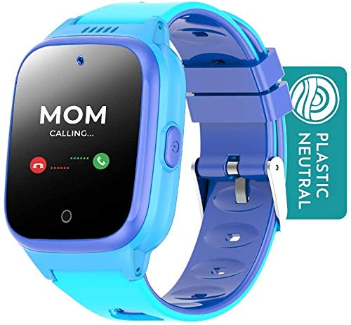 Cosmo JrTrack Kids Smartwatch - 1 Month Unlimited Data and SIM Card Included - Voice and Video Call - GPS Tracker - SOS Alerts - Water Resistant - USA Company (Blue)