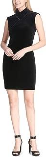 Calvin Klein Women's Velvet Twisted Mock Neck Sleeveless Mini Dress