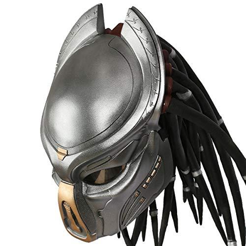Mesky EU Disfraz Predator Máscara Helmet con Peluca Resina Suave Prop Cosplay Costume Accesorio Halloween Carnaval para Hombre(33*20*28cm)