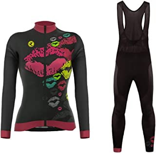 Uglyfrog Long Sleeve Cycling Jersey + Bib Tight Sets with Gel Pad Women Breathable Outdoor Sports Wear Spring Bicycle Triathlon Clothing-Two Pieces