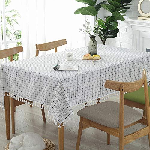 Kuingbhn Mantel de Shabby Nordic Lavable diseño Lino de algodón Reutilizable para Las Mesas Rectangular Manteles Rejilla Blanca 90 × 90cm