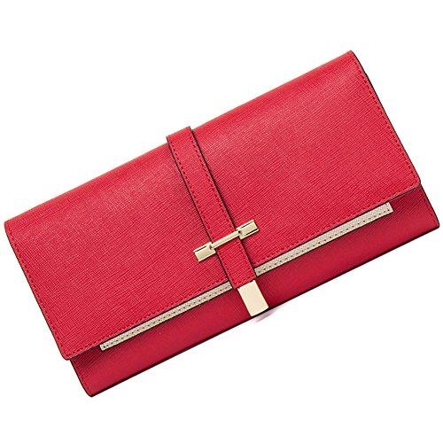 CALLAGHAN Damen Portemonnaie Leder schlank Kupplung veranstalter Lange Designer Trifold kreditkarteninhaber groß 6-Wein-rot