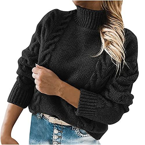 Jersey de punto para mujer, de cuello alto, de manga larga, informal, holgado, para invierno, de punto, Negro , S