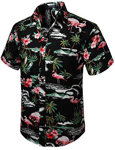HISDERN Hombres Funky Flamenco Hawaiano Camisas Manga...