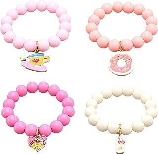 Braccialetti con perline 4 pezzi per bambini, braccialetti in resina per bambina con pendenti con ciondoli Braccialetti co...