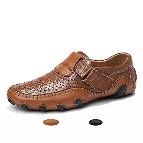 Hombre Mocasines Clásico Cuero Zapatos Verano Casual Elegante Transpirable Antideslizante Oficina Shoes marrón 44(Marrón,44 EU,27CM De talón a Dedo del pie