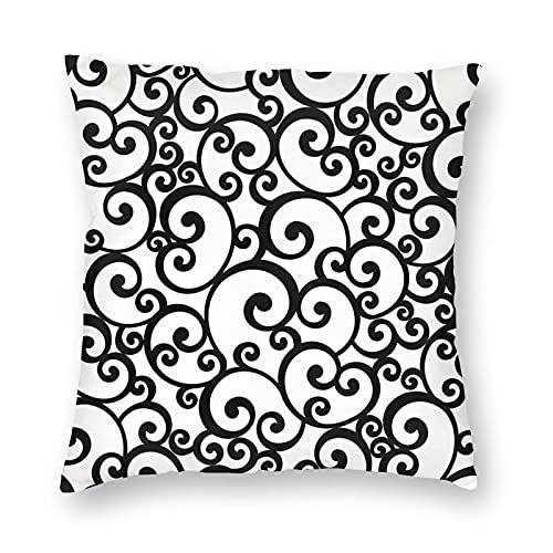 Nixboser Fundas de almohada de poliéster sin costuras en blanco y negro con remolino para decoración del hogar, sofá, sala de estar, cama, coche, tamaño 30 x 30 cm