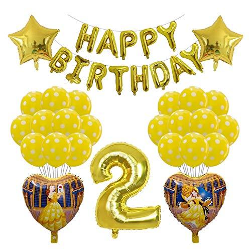 YSJSPKK Globos 38 unids Belleza y la Bestia Ballons de Aluminio 30 Pulgadas Número de Oro Globo Princess Girl Fiesta de cumpleaños Decoraciones de Ballon (Color : 2)