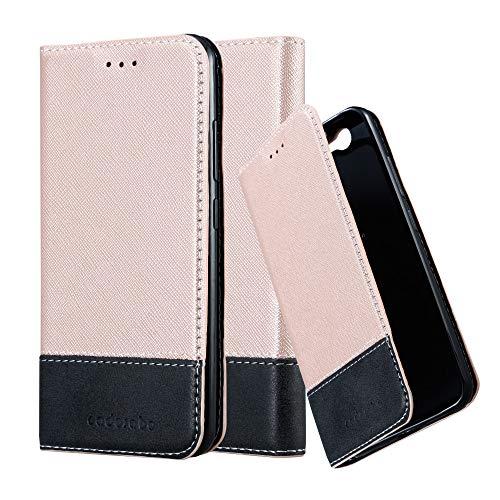 Cadorabo Hülle für Huawei NOVA in ROSÉ Gold SCHWARZ – Handyhülle mit Magnetverschluss, Standfunktion & Kartenfach – Hülle Cover Schutzhülle Etui Tasche Book Klapp Style