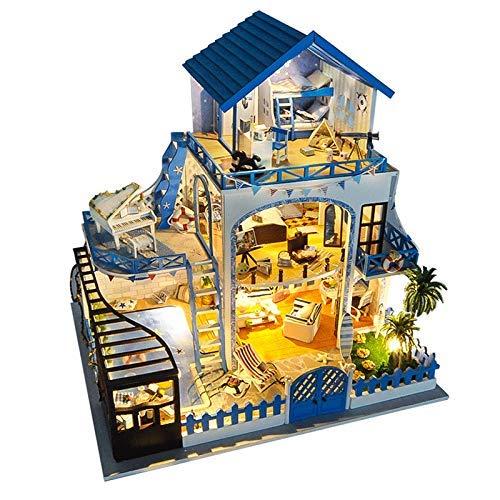 Casa de muñecas en miniatura con muebles DIY Kit de casa de muñecas de madera más a prueba de polvo y movimiento musical, escala 1:24 juguetes creativos de casa de muñecas para regalo para adultos