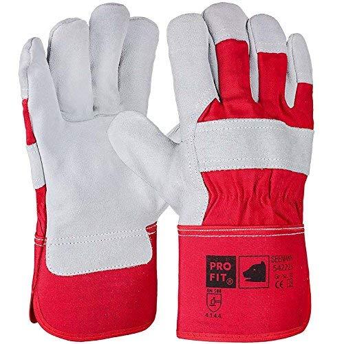 PRO FIT 12 Paar - Rindspaltleder-Handschuh, komplett gefüttert,