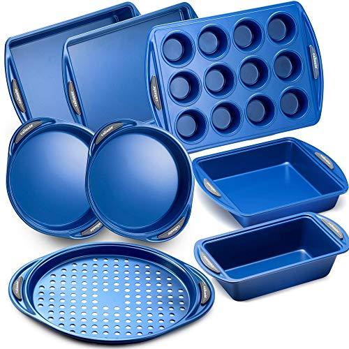 Caliente Nonstick Bakeware Set of 8 | Premium Baking Sheets, Loaf & Bread Baking Pans, Pizza, Roasting & Cake Pans | Durable Carbon Steel Baking Set | Housewarming, Wedding, Chefs & Bakers Gift