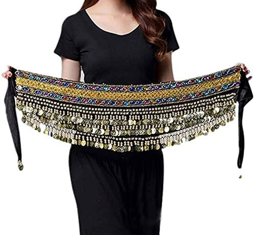 Cinturón Egipcio Hecho a Mano con Cadena para Danza del Vientre, Abrigo para la Cadera, Bufanda, Falda, Pañuelo con 248 Monedas Lentejuelas y Cuentas de Metal para Mujer (Negro)