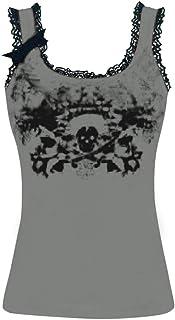Women Sexy Tank Top, OULSEN Summer Fashion Lace Splice Digital Printing Skull Pattern Round Neck Sleeveless Vest Blouse Tops Plus Size T-shirt