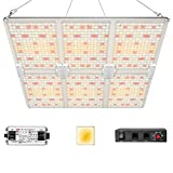 iPower RP6000E Sunlike Dimmable Full Spectrum LED Grow Light with Samsung 301B Diodes and Mean Well Driver for Hydroponics Indoor Plants Seeding and Flower, 600W, Tent and Greenhouse