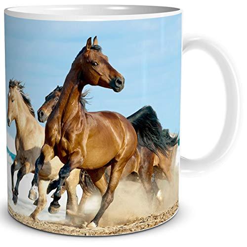 TRIOSK Tasse Pferde am Meer mit Pferdemotiv Strand Pferd Maritim Geschenk für Pferdefreunde Pferdeliebhaber Mädchen Frauen Kinder