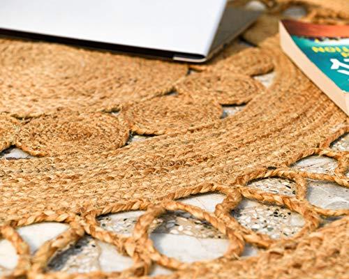 IMPEXART PVT LTD Runde Juteteppiche für Wohnzimmer 120 x 120 cm Geflochtener rustikaler Vintage-Eco-freundlicher Wende-Teppich für Wohn- und Dekorationszwecke - 3