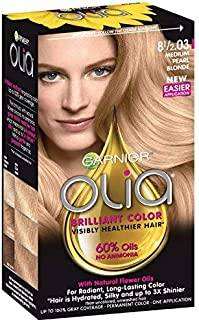 Garnier Olia Ammonia Free Permanent Hair Color, 100 Percent Gray Coverage (Packaging May Vary), 8 1 2.03 Medium Pearl Blon...