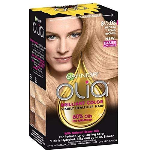 Garnier Olia Ammonia Free Permanent Hair Color, 100 Percent Gray Coverage (Packaging May Vary), 8 1 2.03 Medium Pearl Blonde Hair Dye, Pack of 1