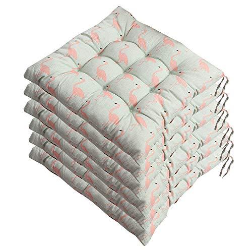 AGDLLYD Stuhlkissen 40x40cm 6er Set,Sitzkissen für Stühle Indoor und Outdoor - Bequeme Stuhlauflage - Steppkissen weich und robust bunt (E)