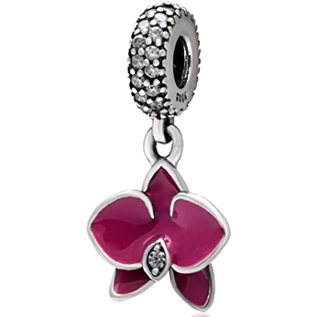 Breloque orchidée en argent sterling 925 avec fleur pour bracelet Pandora  fuchsia