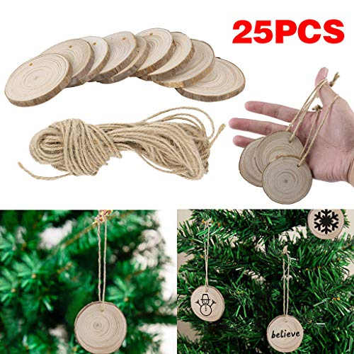 Xisheep 25Pcs Wood Christmas Tree Ornaments Props DIY Kids Painting Decor Craft Tags, Christmas Holiday Party Decoration