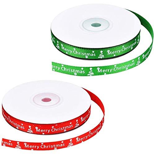 Jinlaili 2 Rollen Weihnachtsbänder, Weihnachten Geschenkbänder Schleifenband, Ripsband mit Merry Christmas und Schneeflocke, Geschenkband für Weihnachten Geschenkverpackung, 22M x 10MM(L x W)