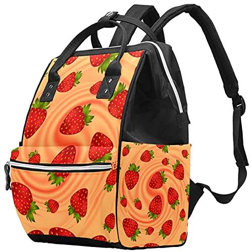 WJJSXKA Mochilas Bolsa de pañales Laptop Notebook Mochila de viaje Senderismo Daypack para Mujeres Hombres - fresa y crema