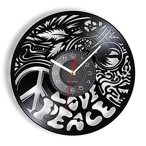 GVSPMOND Reloj de Pared con Disco de Vinilo de inspiración de Paz y Amor, Signo Anti-Guerra, Tatuaje, Cara, Chica, Reloj de Pared de Estilo aborigen, gráfico único