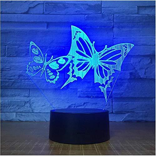 Alas de mariposa Luz de noche Led Panel acrílico 3D Lámpara de escritorio de mesa de ilusión estéreo Luz de bulbo multicolor