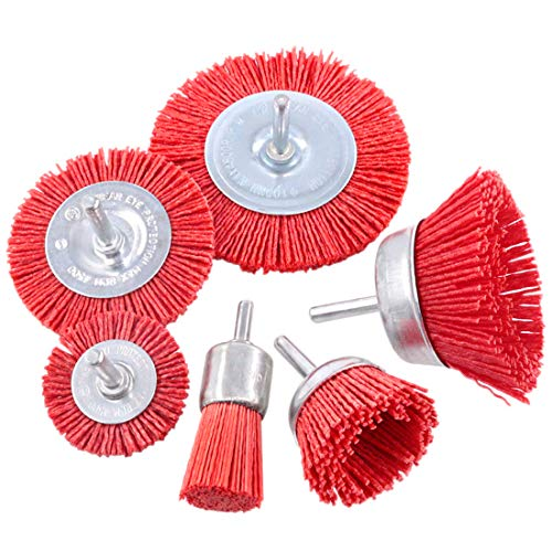 Swpeet 6Pcs Nylon Filament Abrasive Wire Brush Wheel & Cup Brush Set with 1/4 Inch Shank, 6 Sizes Nylon Drill Brush Set Perfect for Removal of Rust/Corrosion/Paint - Reduced Wire Breakage