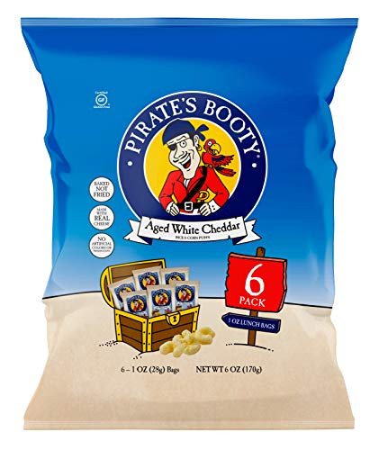 Pirate's Booty Aged White Cheddar Cheese Puffs 6ct, 1oz Snack Size Bags, Gluten Free, Cheese Snacks, Healthy Snacks
