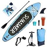 HJHY Tabla de paddle surf hinchable (SUP) incluye mochila, bomba, cuerda de seguridad, kit de reparación, remo y aleta central, pasarás feliz el verano con usted, a