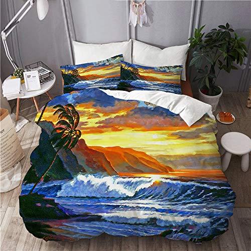 BEITUOLA Bettwäsche-Set,Sonnenuntergangmeerblickozeanwellen Palmenstrand Mauis Hawaii romantische Wasserreise,1 Bettbezug 200 X 200cm + 2 Kopfkissenbezug 80 X 80cm