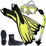 Promate Scuba Dive Fins Boots Dry Snorkel Mask Gear Set, Yellow, Mens 7 / Womens 8