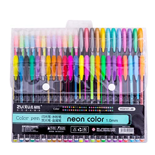 BBring NeoGlitzer Gelschreiber Gelstifte Set Neon Farbe Gel Stift Set für Mädchen Glitzer mit Etui - Malset Mädchen Zeichnen Gelmalstifte -Schreibset - Gelschreiber Set Gelstifte -Kinder (48 Farbe)
