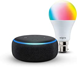 Echo Dot (Black) bundle with Wipro 9W smart color bulb