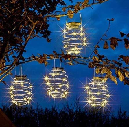 Paquete de 4 luces solares en espiral, linternas creativas de hierro, lámpara decorativa colgante LED para exteriores, jardín, patio, porche, camino, patio, cadena de luces decoración