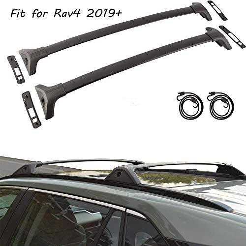 Tuntrol 2 Pieces Cross Bars Cargo Luggage Side Rail Fit for Toyota RAV4 2019 2020 Black Crossbars Roof Rack