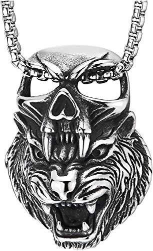 NC110 Collar con Colgante Cuadrado de Calavera con Cabeza de Tigre rugiente Retro de Acero para Hombre, Collar con Encanto clásico con Personalidad YUAHJIGE