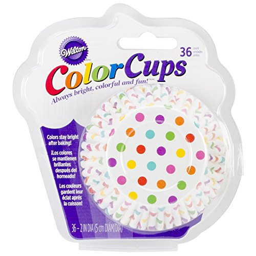 Wilton 36-Pack Color Baking Cup, Standard, Dots Rainbow