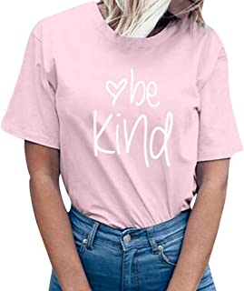 Women be Kind Letter Print Short Sleeve T-Shirt Tops Blouse Tee